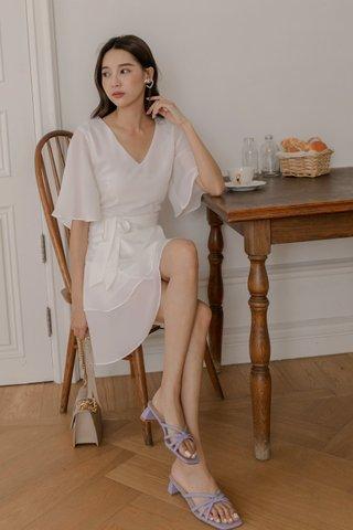 V-neck Surplice Dress in White