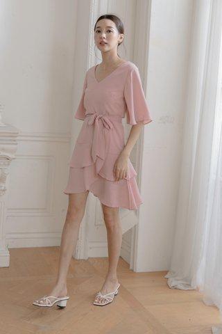 V-neck Surplice Dress in Pink