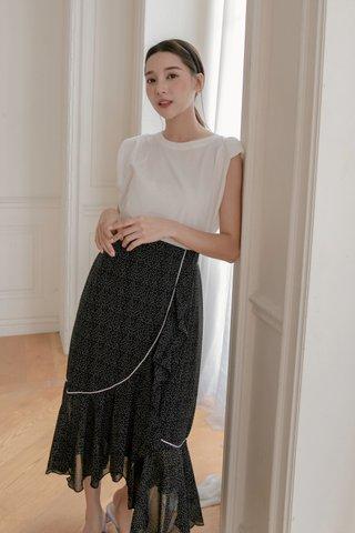 Dotted Frill-hem Wrap Skirt in Black