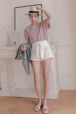 Shirlene Self-tie Shorts in White