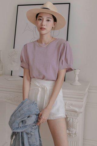 Puffy Sleeve Top in Purple