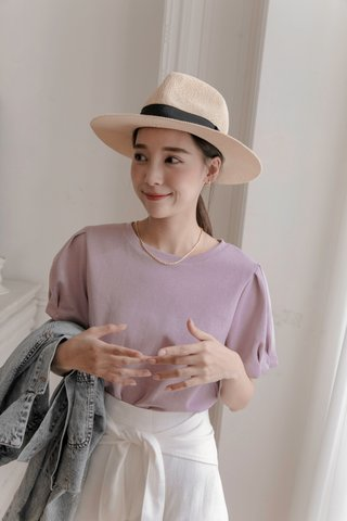 Puffy Sleeve Top in Purple