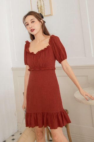 Elise Ruffled Dress in Red