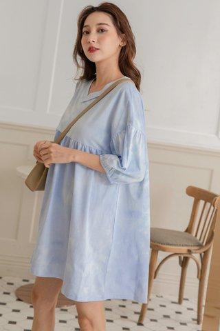 Tie-dye Babydoll Dress in Blue