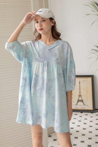 Tie-dye Babydoll Dress in Cyan Grey