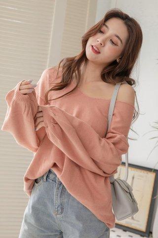 Puffy Sleeve Sweater Dress in Tea Rose