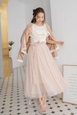 Pompom Mesh Midi Skirt