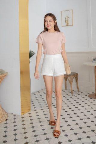 Leana Tassel Linen Shorts in White