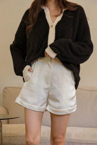 Betina Silk Shorts in Pearl White