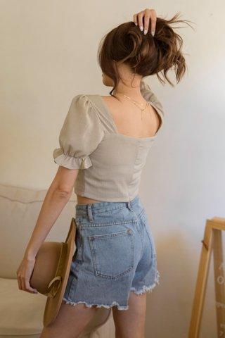 Raw-Cut Denim Shorts