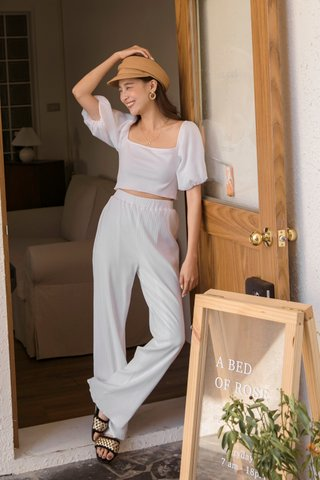 Dacey Trimmed Trousers in White