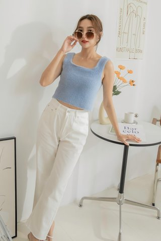 Nula Fluffy Sleeveless Top in Blue