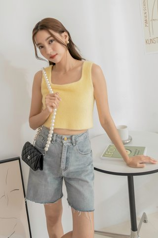 Nula Fluffy Sleeveless Top in Yellow