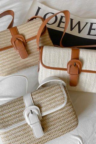 Faux Straw 2-ways Bag in Dark Brown