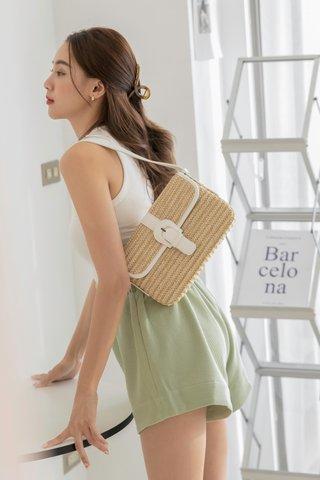 Faux Straw 2-ways Bag in White
