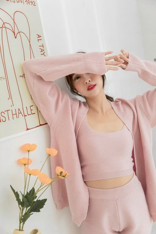 Homey Knitted Top and Cardigan in Pink