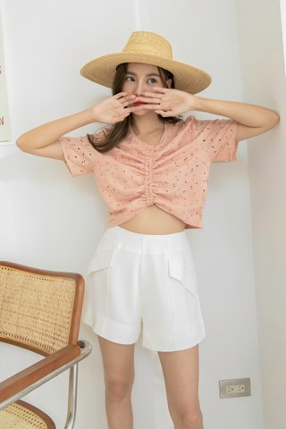Daisy Floral Crochet Top in Peach
