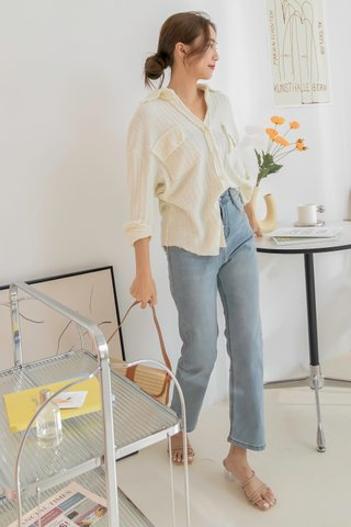 Knitted Buttoned Shirt in Cream