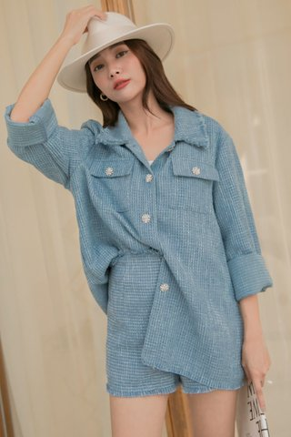 Melena Dimond-buttoned Blouse in Blue